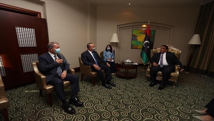 Libya Başkanlık Konseyi Başkanı Muhammed El-Menfi Bakan Akar ve Bakan Çavuşoğlu'nu Kabul Etti