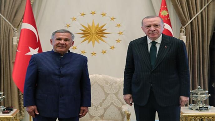 Cumhurbaşkanı Erdoğan, Tataristan Cumhurbaşkanı Minnihanov ile görüştü